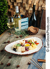 Classic wine appetizer cheese grapes nuts