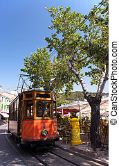 Classic wood tram train of Puerto de Soller in Mallorca, Spain