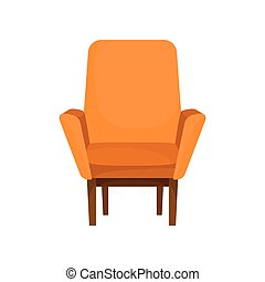 Classic wooden armchair with orange upholstery. Cushioned furniture. Cozy soft chair for living room. Flat vector icon