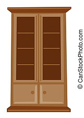 Classic wooden cabinet vector cartoon illustration