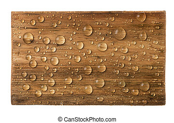 Classic wooden frame in drops of rainwater isolated on a white background.