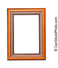 Classic wooden frame on white background