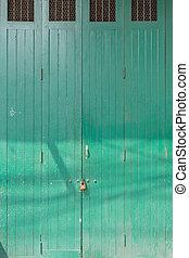 classic wooden green door