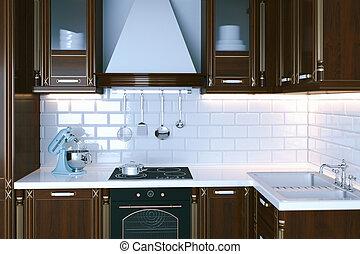 Classic wooden kitchen furniture close-up 3d render