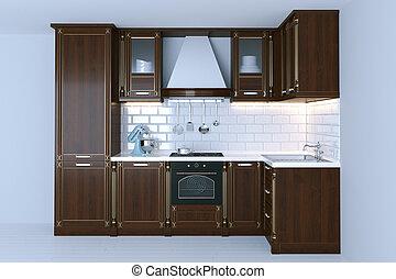 Classic wooden kitchen interior with white flooring 3d render