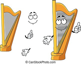 Classic wooden musical cartoon harp character