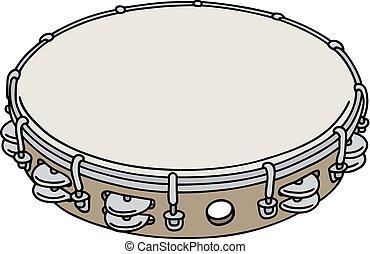 Classic wooden tambourine
