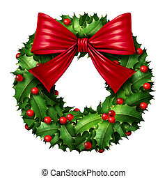 Classic Wreath With Red Ribbon