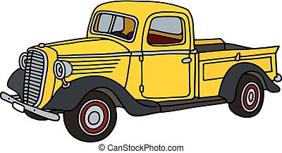 Classic yellow small truck
