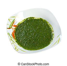 Classic Yemenite sauce zhug, . farm-style. isolated