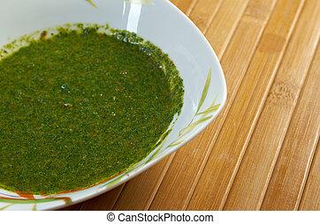 Classic Yemenite sauce zhug, . farm-style