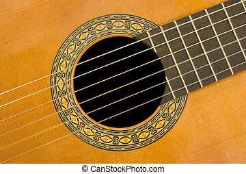 Classical acoustic guitar, close-up, music background