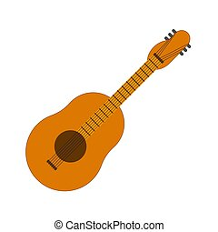 Classical acoustic guitar isolated icon music instrument vector illustration