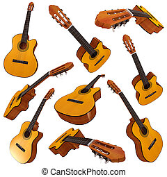 Classical acoustic guitar. Set. 3d render
