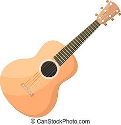 Classical acoustic wooden Cartoon guitar with strings on a white background. Isolate