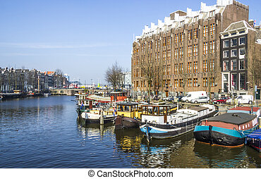 Classical Amsterdam view on a canal, the Netherlands