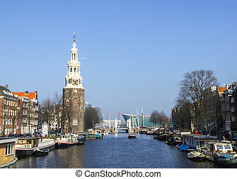Classical Amsterdam view on canal, the Netherlands