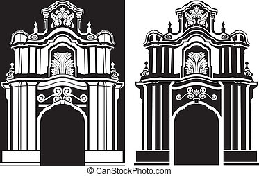 classical arch stencil in two variants vector illustration
