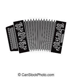 Classical bayan, accordion or harmonic icon in black style isolated on white background. Russian country symbol stock vector illustration.