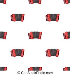 Classical bayan, accordion or harmonic icon in cartoon style isolated on white background. Russian country symbol stock vector illustration.