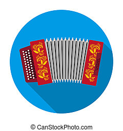Classical bayan, accordion or harmonic icon in flat style isolated on white background. Russian country symbol stock rastr illustration.