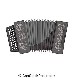 Classical bayan, accordion or harmonic icon in monochrome style isolated on white background. Russian country symbol stock vector illustration.