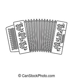 Classical bayan, accordion or harmonic icon in outline style...