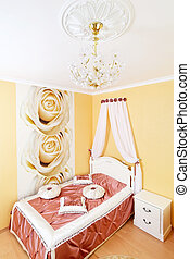 Classical bedroom interior with flowers