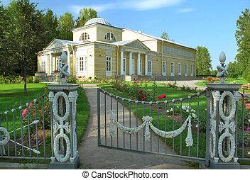 Classical building in rose garden
