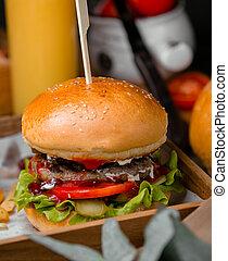 Classical burger with sesame bun