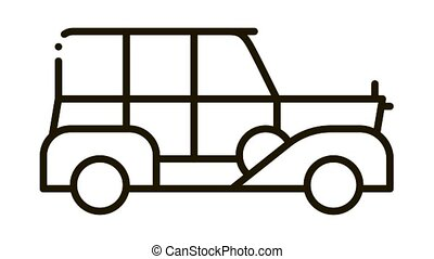 Classical Car Icon Animation. black Classical Car animated icon on white background