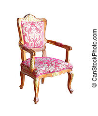 classical carved wooden chair isolated on white background