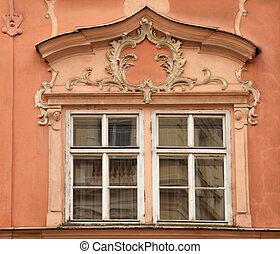 baroque ornate window and pediment in Prague - Classical...