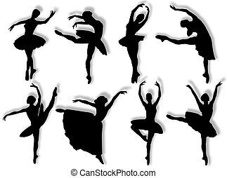 Classical dancers silhouette in different poses and...