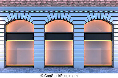 Classical empty storefront. - 3D illustration of a classical...