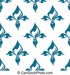 Classical French blue colored fleur-de-lis seamless pattern with a repeat motif in square format suitable for wallpaper, tiles and fabric design