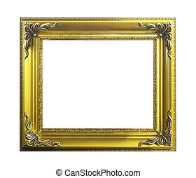 Classical golden wooden frame isolated