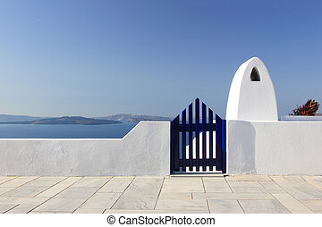 Classical Greek architecture of the streets in Oia - ...