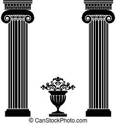 Classical greek or roman columns and vase isolated on white ...