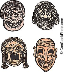 Classical Greek Theater Mask Set. Vector illustration Eps 10