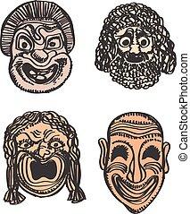 Classical Greek Theater Mask Set. Vector illustration Eps 10