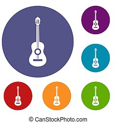 Classical guitar icons set in flat circle reb, blue and...