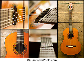 classical guitar - collage of acoustic classical guitar with...