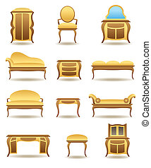Classical home furniture icons set