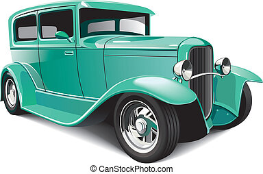 Classical hot rod - Vectorial image of green classical hot...