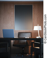 Classical interior with workplace and black canvas. 3d rendering