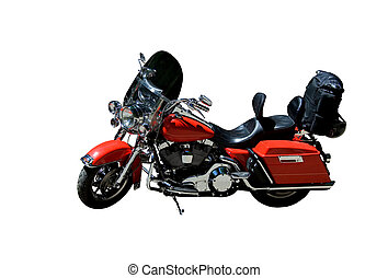 Classical look - Red polished retro motorcycle on isolated ...