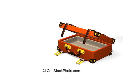 Classical Luggage With Text Space. 3D render Animation. Isolated on White.