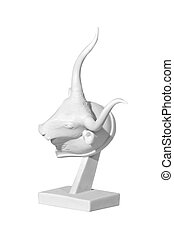 statue of a bull on a white background