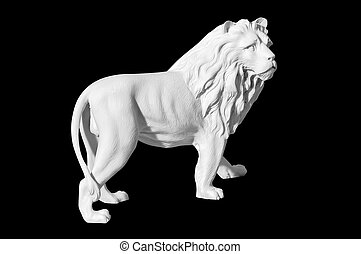 statue of a lion on a black background